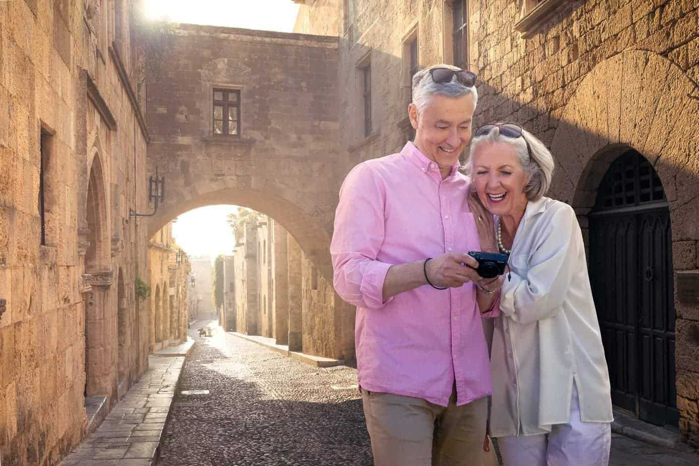 Mature-couple-sightseeing-rhodes-old-town