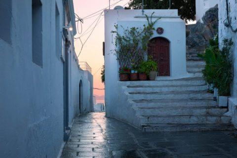 Dawn-lyndos-village-street-greece-travel-photography-portfolio