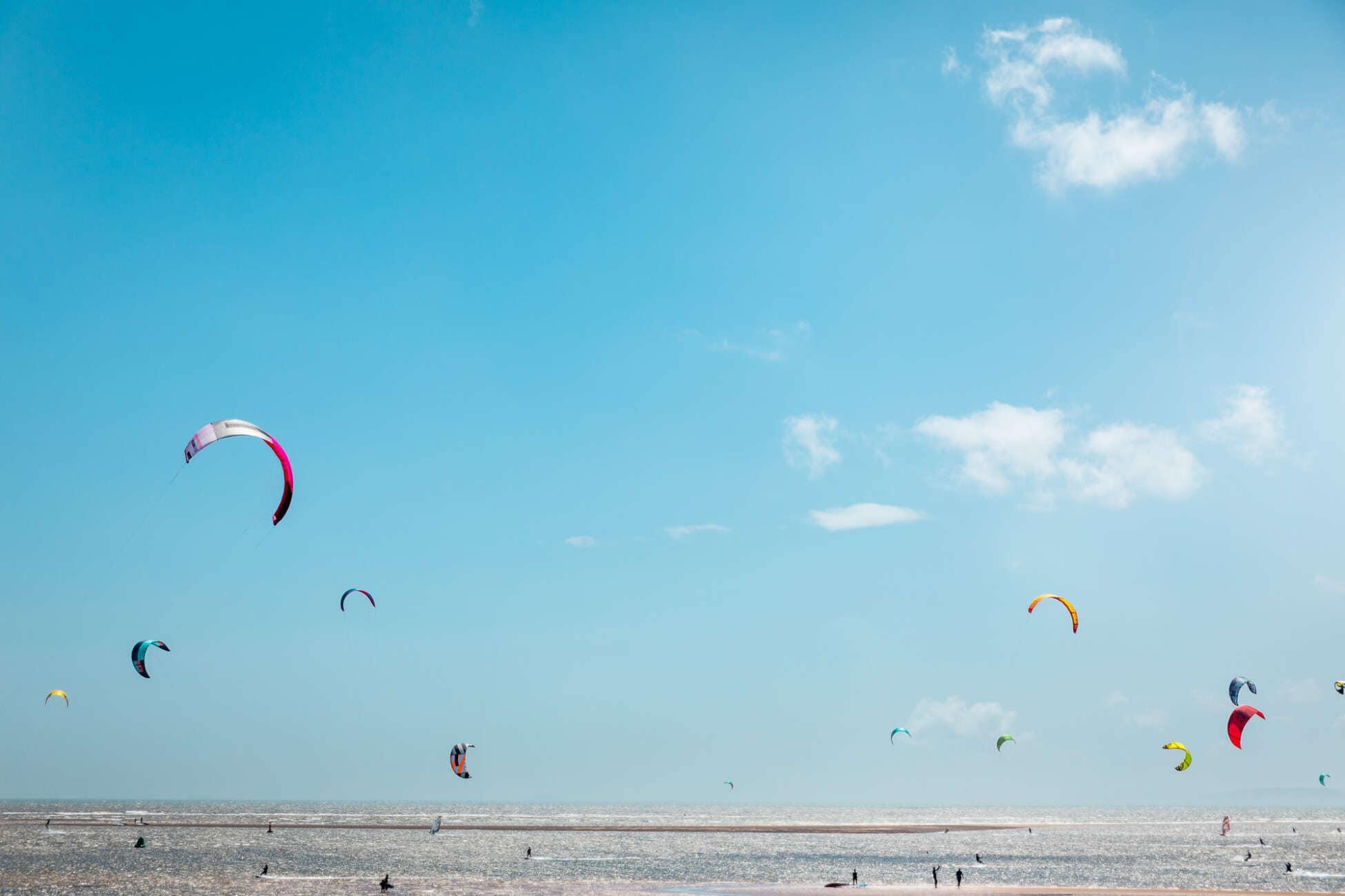 Kite Surfers On Summers Day Exmouth Devon